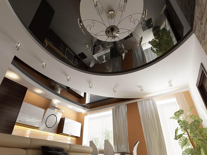 Чёрный глянцевый натяжной потолок фото